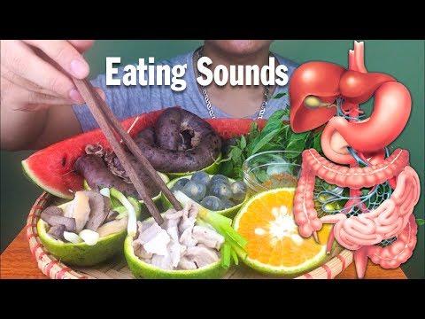 ASMR Eating Stomach,Intestine,Liver Watermelon ( EXOTIC FOOD ) EATING SOUNDS no talking | longASMR