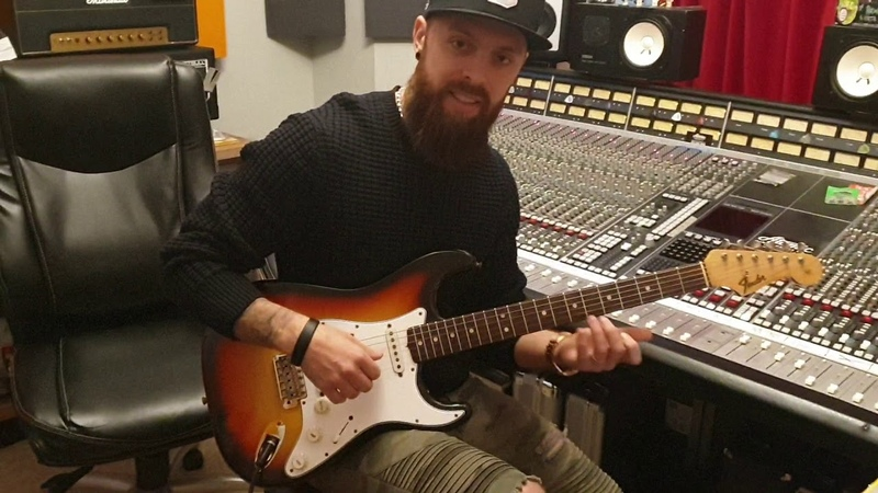 Matt Tuck From Bullet For My Valentine with his 1965 Fender Strat at Essex Recording Studios