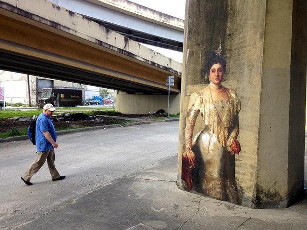 Французский художник Жульен де Касабьянка переносит портреты неизвестных художни...
