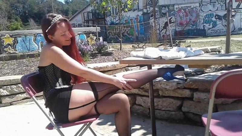 Kudra black,corset,thigh high stockings,high heels and garter belt