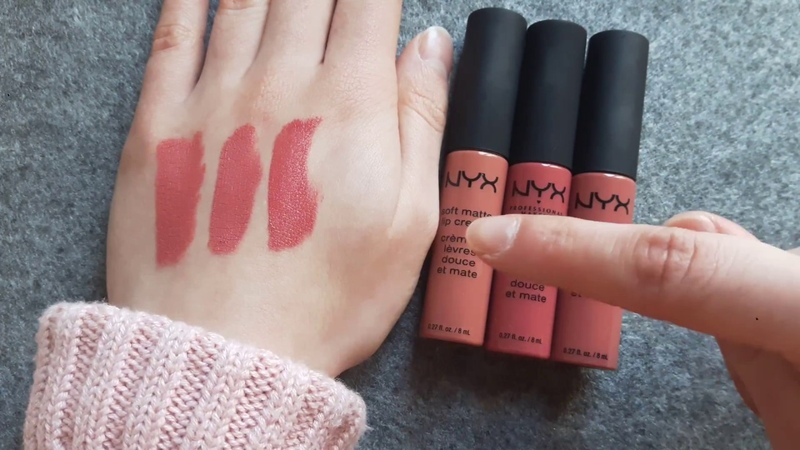NYX Soft Matte Lip Cream Shanghai vs Zurich vs Cannes Shades comparison Swatches