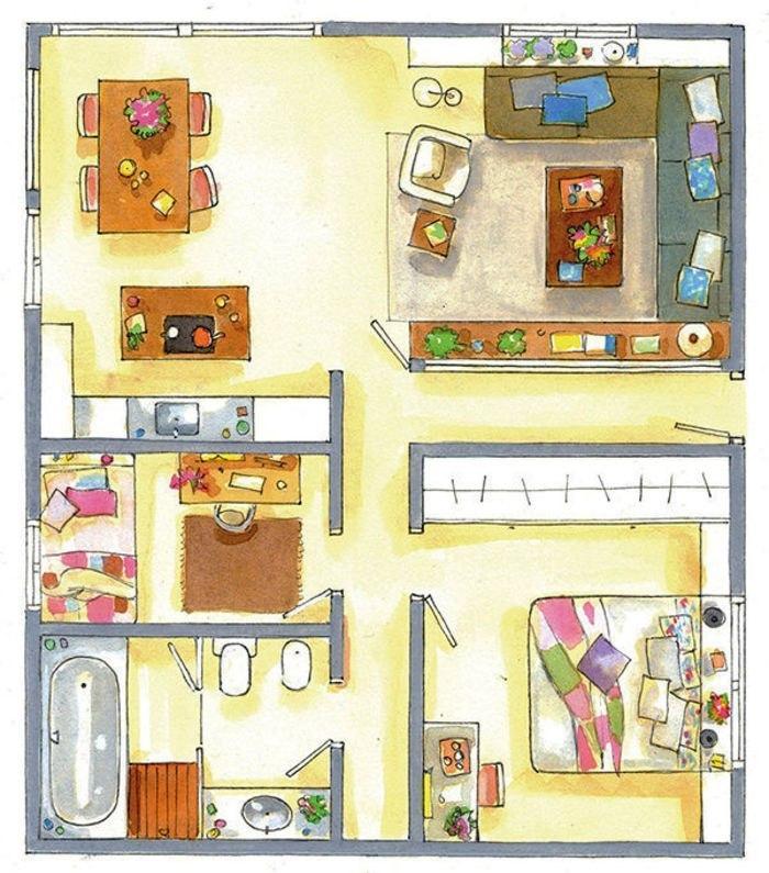 Барселонская квартира в 90 м² (с планом.