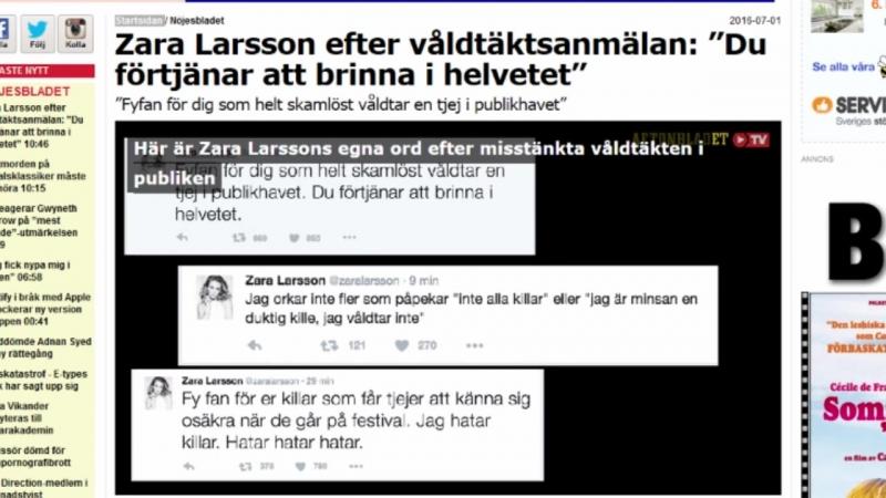 Aftonbladet och Expressen ägda om näthatande Zara Larsson