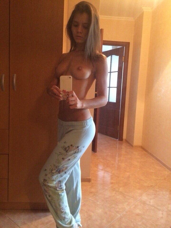 Slim busty mom in stockings banging