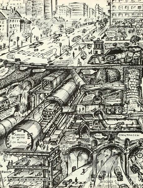 Иллюстрация на тему московской подземки. Автор: диггер Вадим Михайлов, 1998 год.