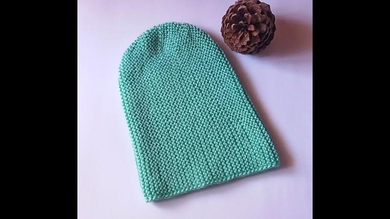 08. Модная шапка бини платочной вязкой с укороченными рядами МК