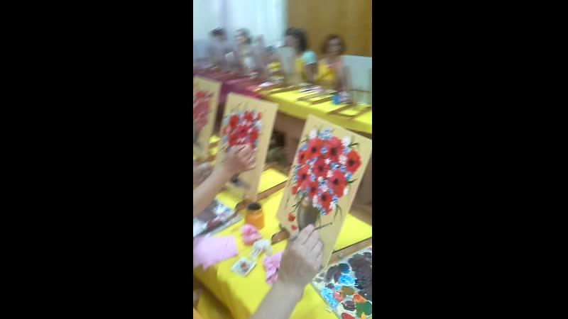 Видео с арт вечеринки Arty Men 13 06 Маки в вазе рисуем