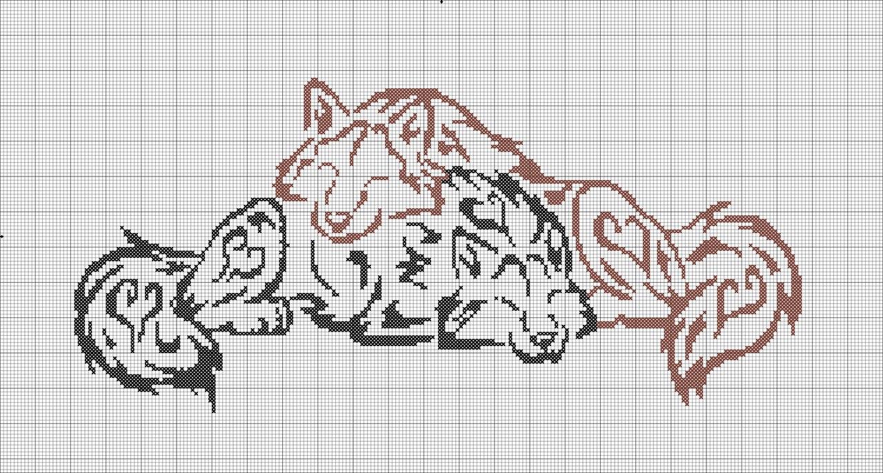 Схемы вышивки крестом черный волк