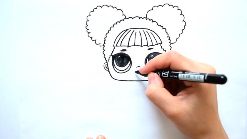 🐝Как нарисовать куклу лол Королева Пчел - How to draw lol dolls Queen Bee - Раскраска для детей🐝.mp4