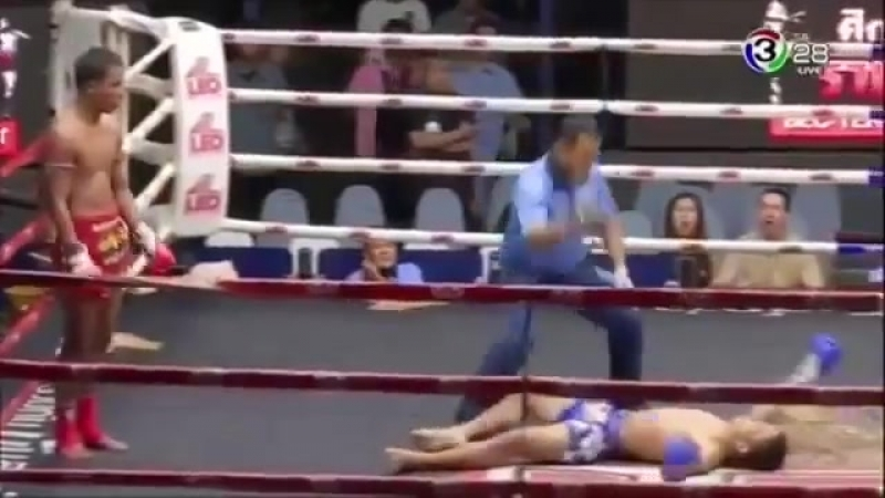 Потрясающий нокаут на турнире по тайскому боксу