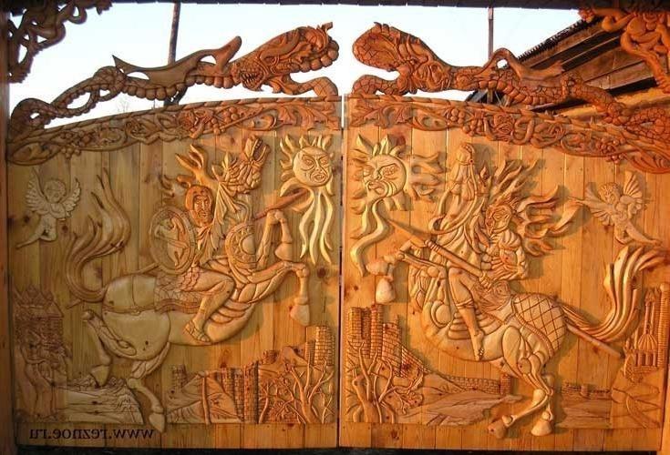 Резные ворота из дерева