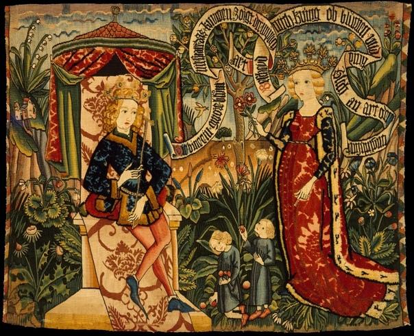 СРЕДНЕВЕКОВАЯ ШПАЛЕРА ДВЕ ЗАГАДКИ ЦАРИЦЫ САВСКОЙ Эта шпалера была изготовлена в Страсбурге, Верхний Рейн, Германия в 1490-1500 годах. Она соткана из шерстяных, льняных и металлических нитей в