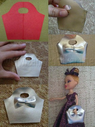Видео как можно сделать для куклы сумку