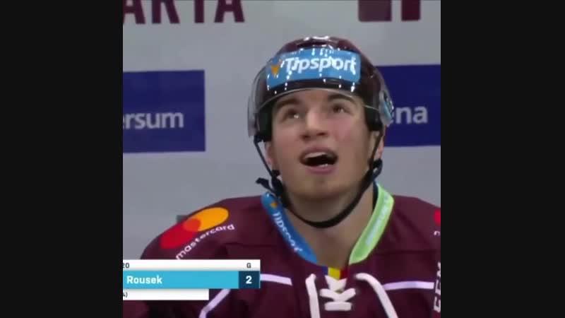 Победная шайба Лукаша Роусека в игре с Витковице