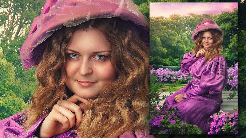 Lady in the garden Photoshop Manipulation Speed art