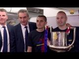Llegada a Barcelona del primer equipo - Campoenes de la Copa del Rey 20172018
