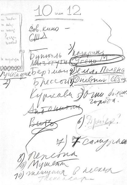 10 любимых фильмов Андрея Тарковского. В 1972 году киновед Леонид Козлов по случаю скорого выхода фильма «Солярис» провел интервью с Андреем Тарковским и спросил известного режиссера о его самых