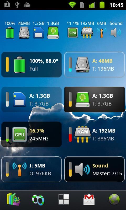 Mini Info : Красивый аккуратный виджет с инфо для андроида
