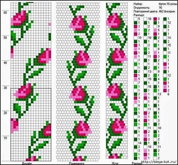 Жгут из бисера, розы