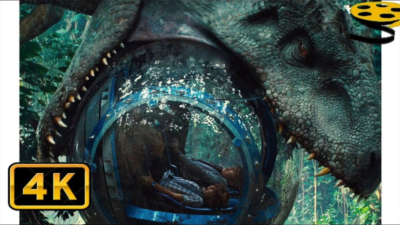 Зак и Грей убегают от Индоминуса Рекса Сцена с Гиросферой Мир Юрского периода 4K ULTRA HD