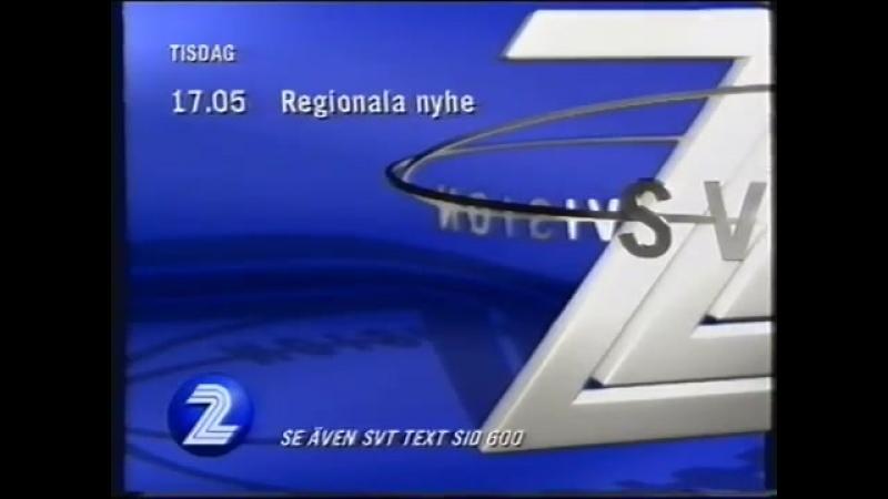 Диктор, программа передач и конец эфира (SVT2 [Швеция], 31.08.1998)