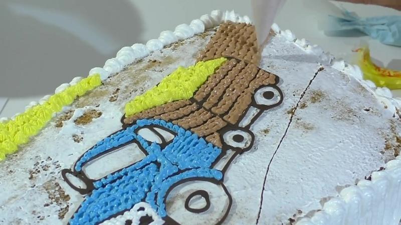 Кремовый торт с машиной Торт раскраска МК Cream cake with machine Cake coloring