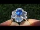 UNHEATED UNTREATED VS Cornflower Blue Sapphire Diamond Cocktail Ring 14k White Gold