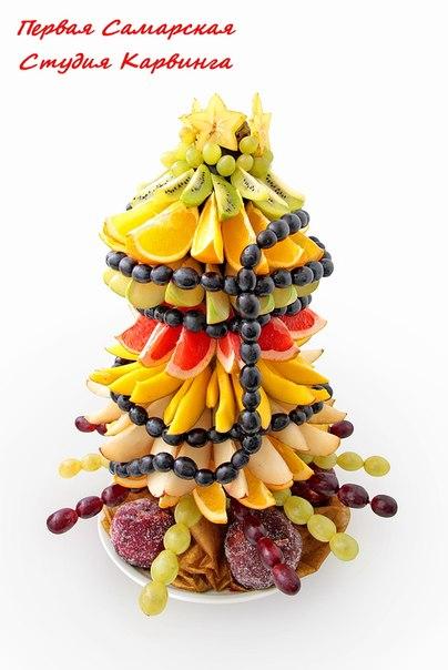 Новогодняя елка (яблоко, виноград, апельсины, груша, манго, грейпфрут, киви, карамбола)