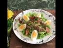 Салат с грудинкой и яйцами без майонеза