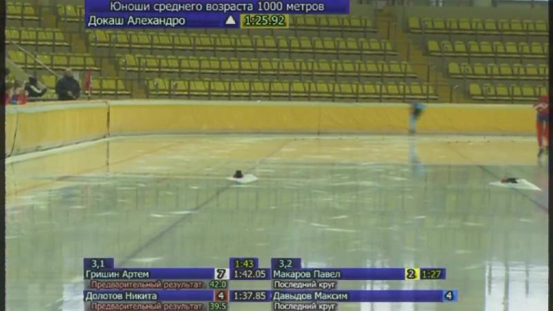 11 января 2018 года. 2-й день Первенство-Росси Соревнования пробы в Москве на 1000 метров. Я стаю во второй паре за соперником