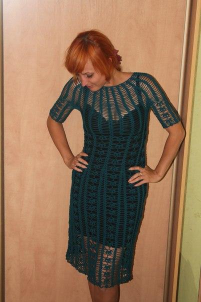 вязаное крючком платье,