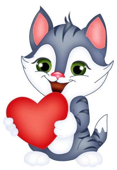 Котенок с сердцем картинки