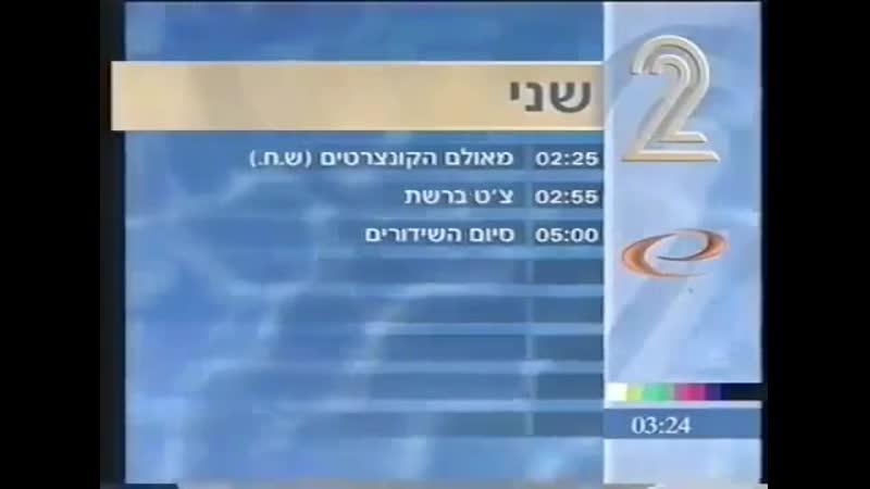 Заставка, программа передач и конец эфира (Channel 2 [Израиль], 1999)