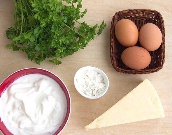 Сырные лепешки с зеленью Ингредиенты: Сметана 15-20% - 300