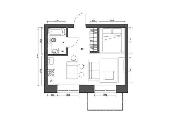 Небольшая светлая квартира, 29 кв.