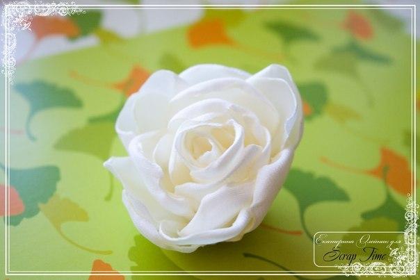 МК: Роза из ткани (9 фото) - картинка