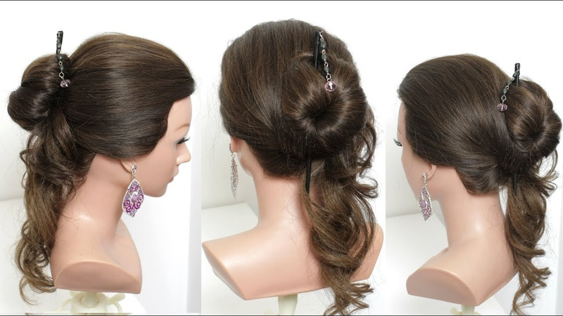 Cute And Easy Hairstyle With Hair Stick For Long Hair