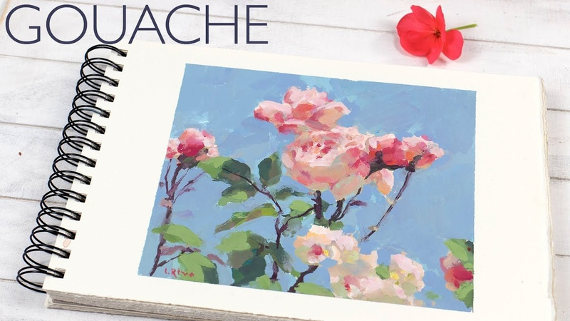 Gouache Sketchbook Painting - Roses and the Sky | Demo by Lena Rivo