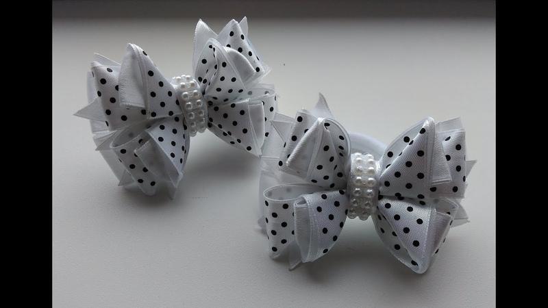 Бантики в школу из атласных лент 2,5 см МК Канзаши / Bows in the school of satin ribbons 2.5 cm