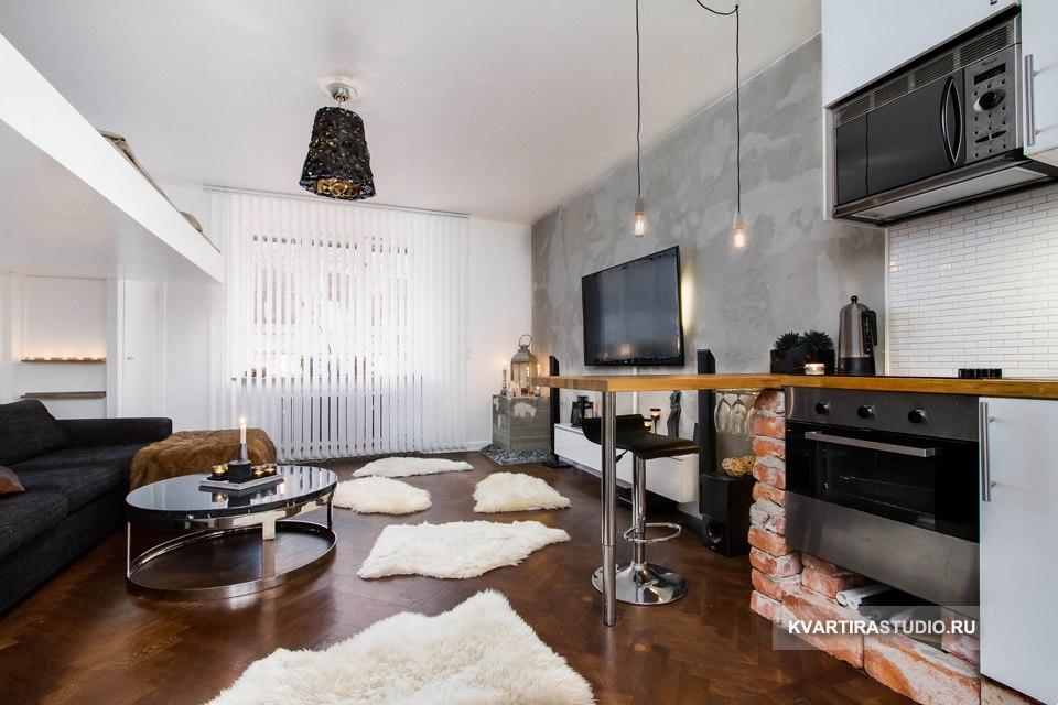Квартира под лофт 28 м с кроватью-чердаком в Швеции - http://kvartirastudio.
