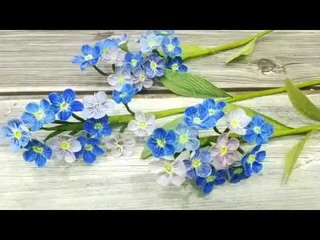 How to make crepe paper flower Forget me not -Step by step instruction