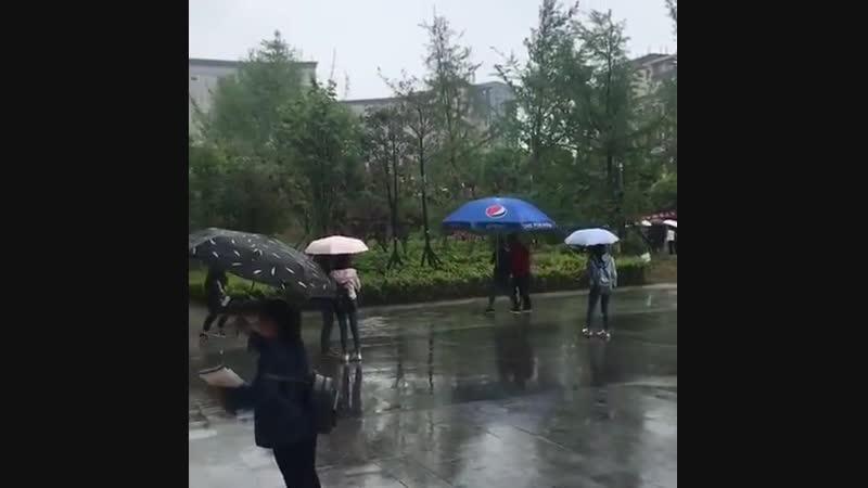 Китайцы прячутся от дождя