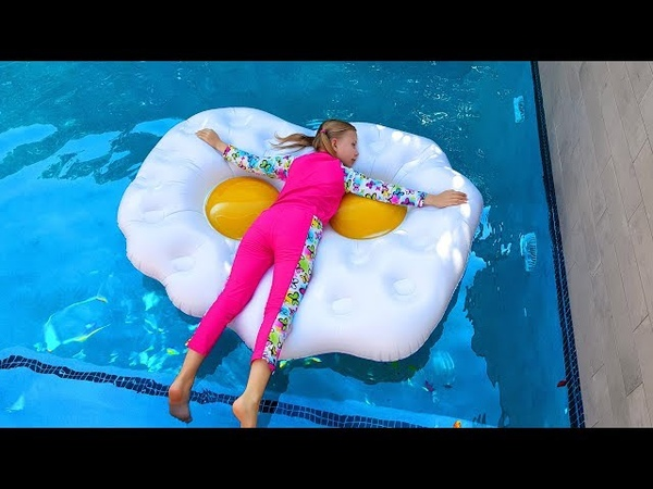 Kids Pretend Play to Real vs Inflatable ! Fun games with Children's Pool Toys