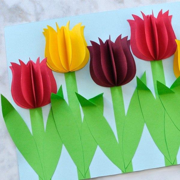 Открытка из цветной бумаги к 8 марта 1 класс