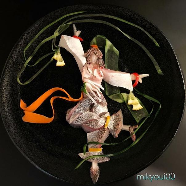блюда японского повара из рыбы! обалдеть!