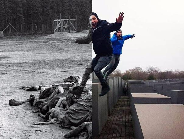 Израильский сатирик создал проект, в котором совместил селфи туристов у берлинского мемориала памяти жертв Холокоста с документальными снимками