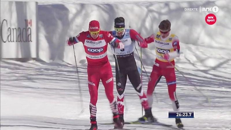 Александр Большунов vs Йоханнес Клэбо - Финальная Битва за БХГ - гонка преследования на 15 км - Квебек 2019