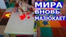 Мисс Мира Панда вновь мазюкает красками синей и красной Miss Mira Panda again smears in paints