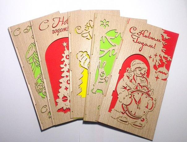 Новогодние открытки из фанеры 83