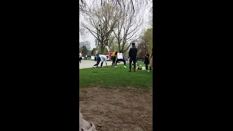 Негры танцуют в парке Цюриха